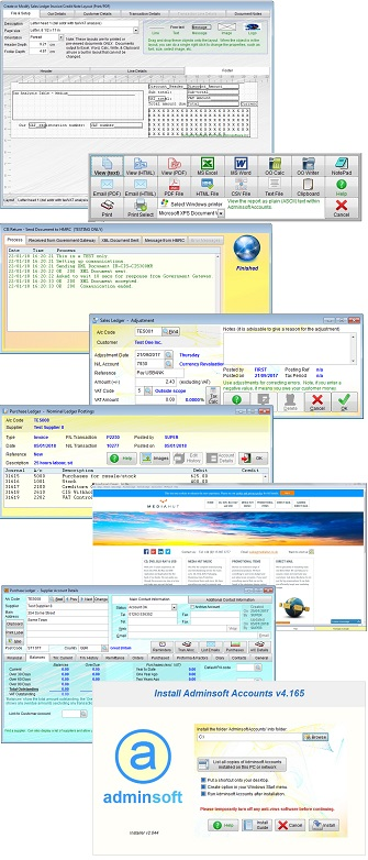 Screen shots from Adminsoft Accounts, example 2